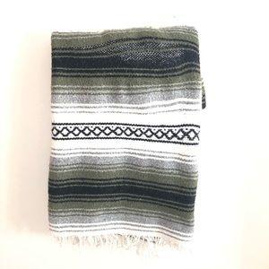 Mexican Falsa Blanket Hand Woven Mat Blanket Green